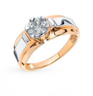 Золотое кольцо с фианитами AQUAMARINE 68507А.1*: красное и розовое золото 585 пробы, фианит — купить в интернет-магазине SUNLIGHT, фото, артикул 91920