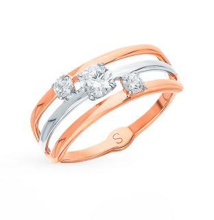 Золотое кольцо с фианитами SOKOLOV 017953*: красное и розовое золото, фианит — купить в интернет-магазине SUNLIGHT, фото, артикул 106294