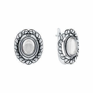Серебряные серьги с лунными камнями E-5336-MOS: серебро 925 пробы, лунный камень — купить в интернет-магазине SUNLIGHT, фото, артикул 171218