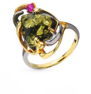 Серебряное кольцо с янтарем ЯНТАРНАЯ ВОЛНА 820241: жёлтое и чёрное серебро 925 пробы, янтарь — купить в интернет-магазине SUNLIGHT, фото, артикул 86040