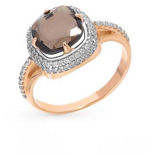 Серебряное кольцо с раухтопазами и фианитами AQUAMARINE 6548101А.6: красное и розовое серебро 925 пробы, раухтопаз, фианит — купить в интернет-магазине SUNLIGHT, фото, артикул 104402