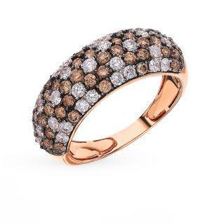 Золотое кольцо с бриллиантами SUNLIGHT: красное и розовое золото 585 пробы, бриллиант — купить в Санкт-Петербурге, фото, артикул 68698 — интернет-магазин Санлайт