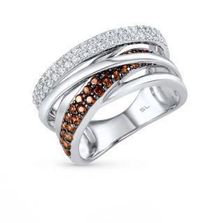 Серебряное кольцо с фианитами SUNLIGHT: белое серебро 925 пробы, фианит — купить в Санкт-Петербурге, фото, артикул 30433 — интернет-магазин Санлайт