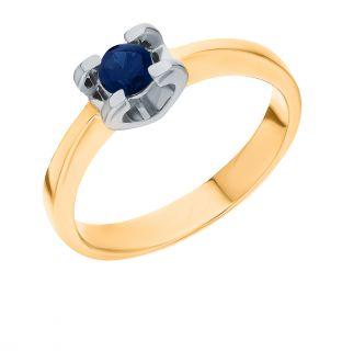 Золотое кольцо с сапфирами SUNLIGHT: розовое золото 585 пробы, сапфир — купить в интернет-магазине Санлайт, фото, артикул 64425