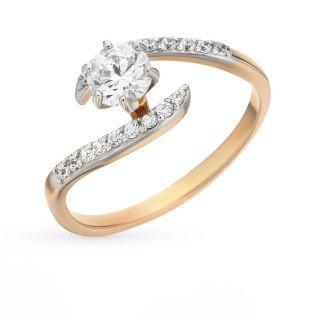 Золотое кольцо с фианитами РУССКОЕ ЗОЛОТО 23012262-1*: красное и розовое золото 585 пробы, фианит — купить в интернет-магазине SUNLIGHT, фото, артикул 61450