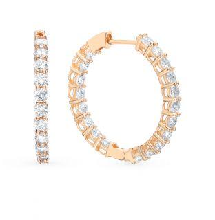 Золотые серьги с фианитами JASMİNE JEWELLERY : красное и розовое золото, фианит — купить в интернет-магазине SUNLIGHT, фото, артикул 91286