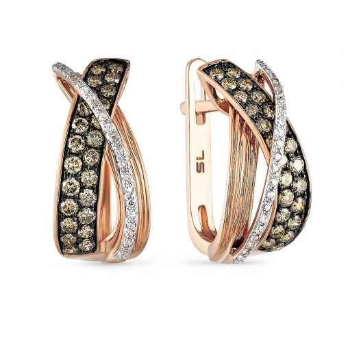 077f12fd51b1 Серьги с 46 бриллиантами, 0.10 карат  48 бриллиантами коньячными, 0.66  карат  Розовое золото 585 пробы. −52% SUNLIGHT