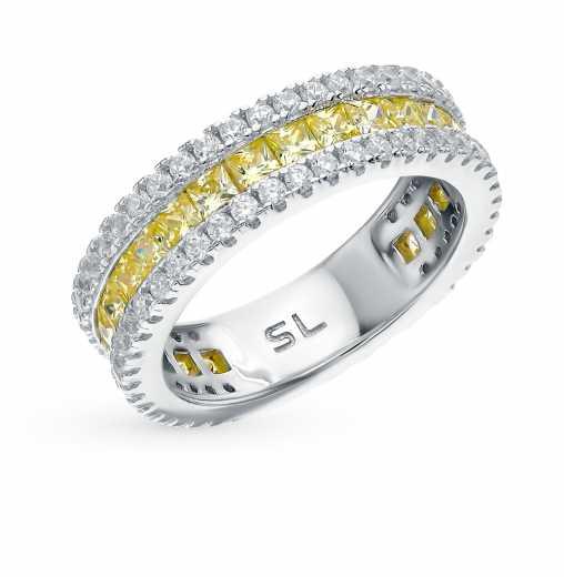 f967cd0a91b2 Кольцо, вставка  фианит  фианит жёлтый  Серебро 925 пробы. −30% SUNLIGHT