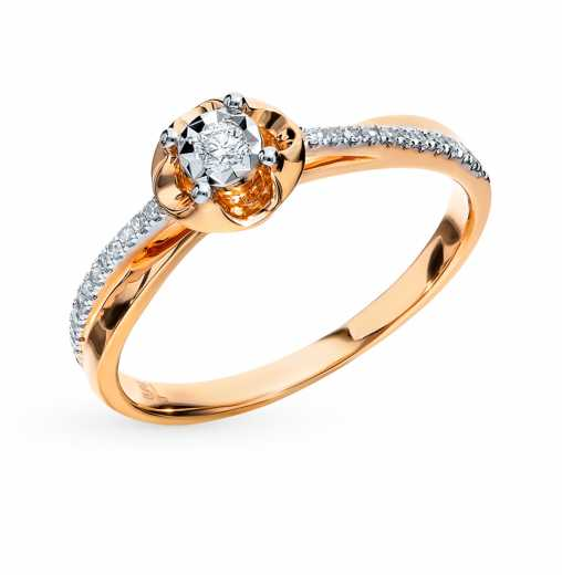 f542b0717 Кольцо с 1 бриллиантом, 0.03 карат, 24 бриллиантами, 0.07 карат; Розовое  золото 585 пробы. SUNLIGHT