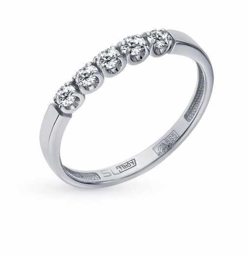 Кольцо «Бриллианты Якутии» с 5 бриллиантами, 0.15 карат  Белое золото 585  пробы ХИТ SUNLIGHT 6526028be11