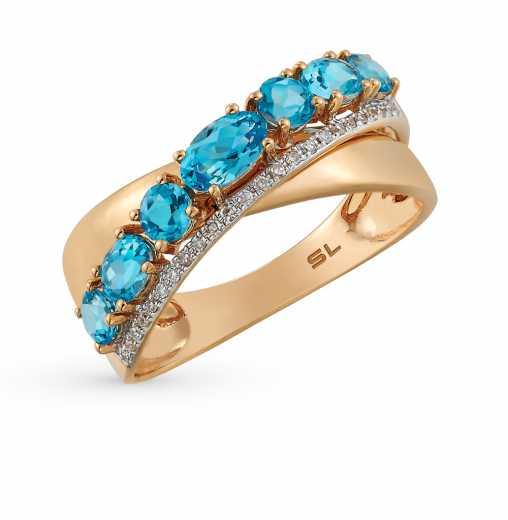 f0a87d4d95e2 Кольцо с 24 бриллиантами, 0.06 карат  7 топазами, 1.15 карат  Розовое золото  585 пробы. −70% SUNLIGHT