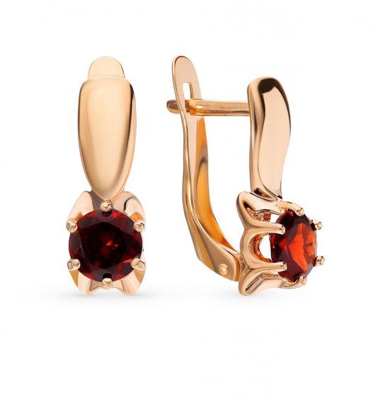 Золотые серьги с гранатом DEL TA 324147   красное и розовое золото ... f8e280e3dfe
