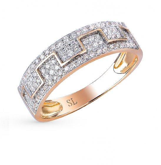 aa113dbe8c3c Золотое кольцо с бриллиантами SUNLIGHT  красное и розовое золото 585 ...