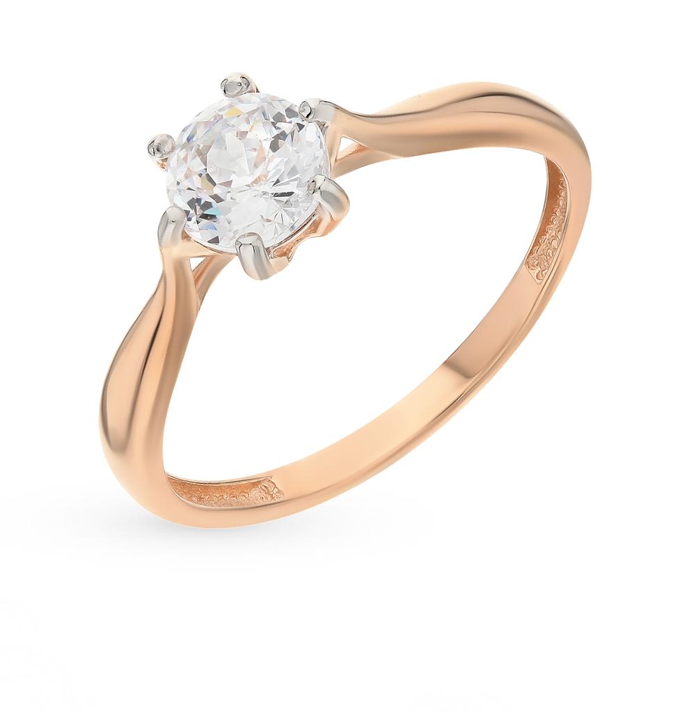 золотое кольцо с фианитами SOKOLOV 81010285*