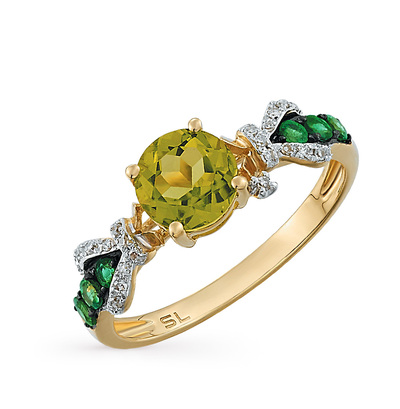 Фото «золотое кольцо с изумрудами, хризолитом и бриллиантами»