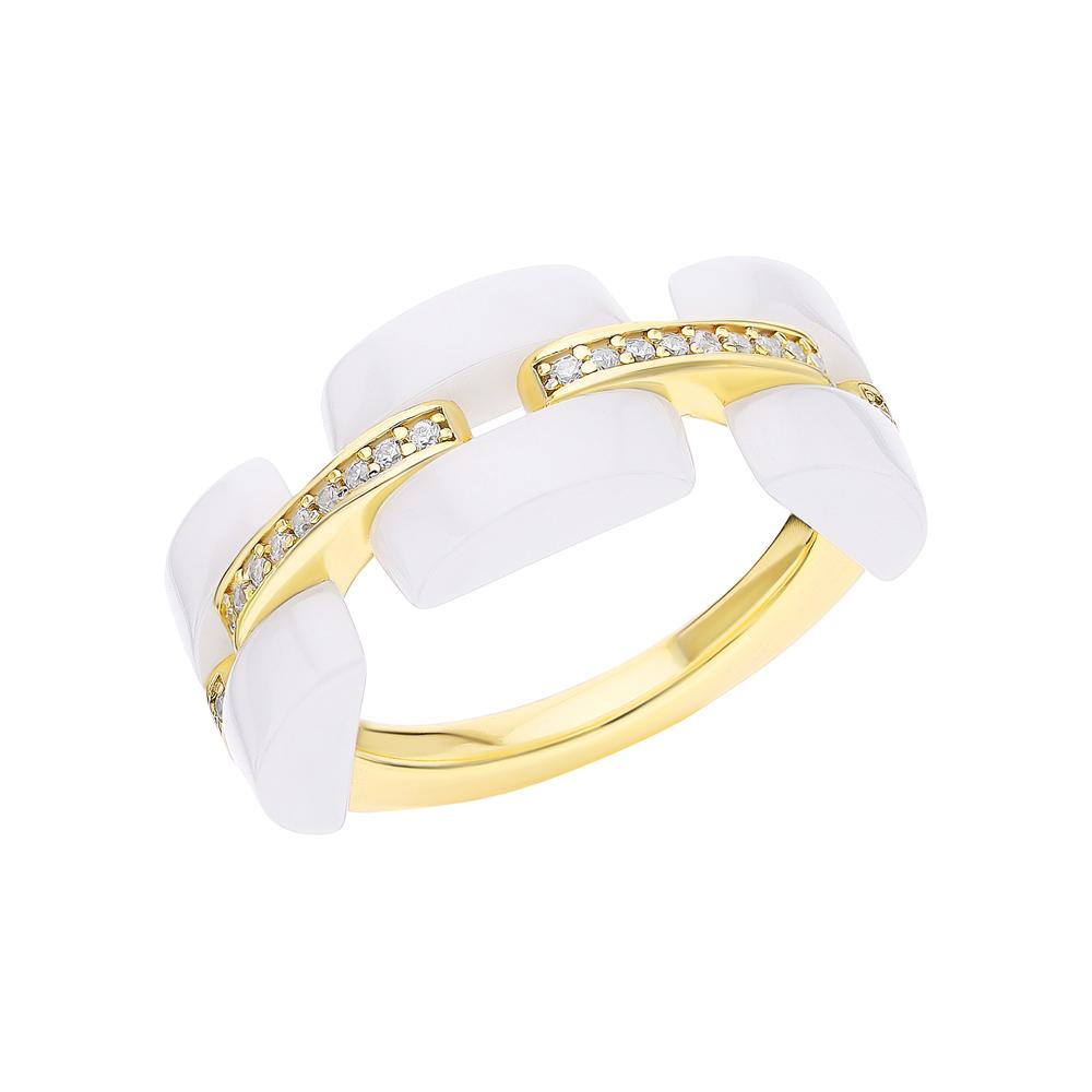 Серебряное кольцо с керамикой и фианитами SUNLIGHT: жёлтое серебро 925 пробы, керамика, фианит — купить в интернет-магазине Санлайт, фото, артикул 263473