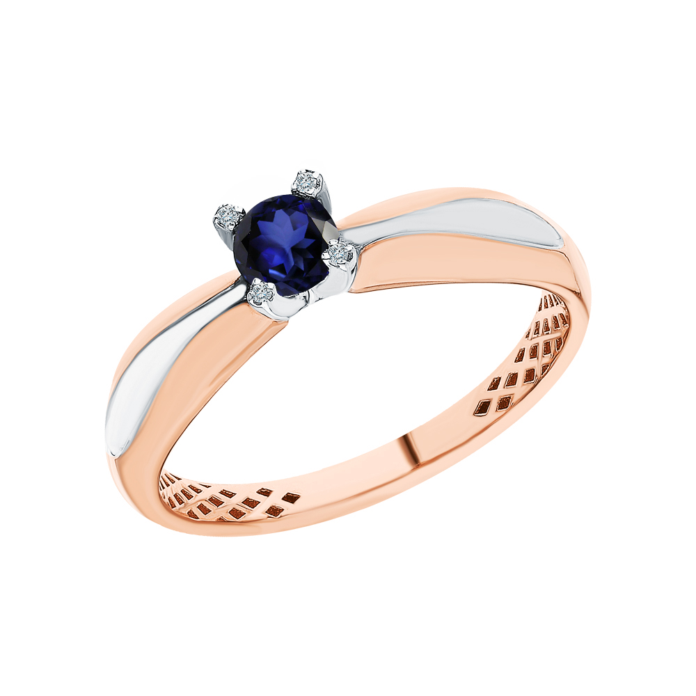 Золотое кольцо с сапфирами синтетическими и бриллиантами в Санкт-Петербурге