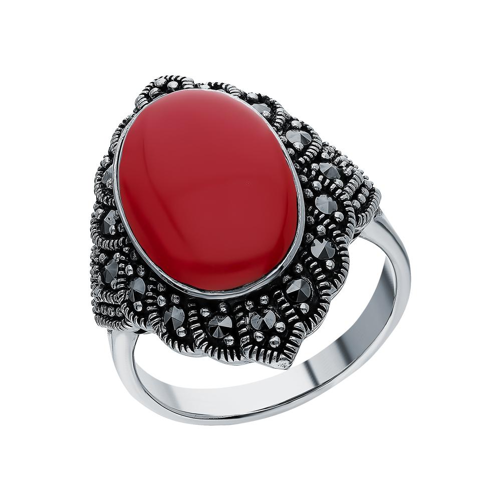 Серебряное кольцо с кораллами прессованными и марказитами swarovski в Екатеринбурге