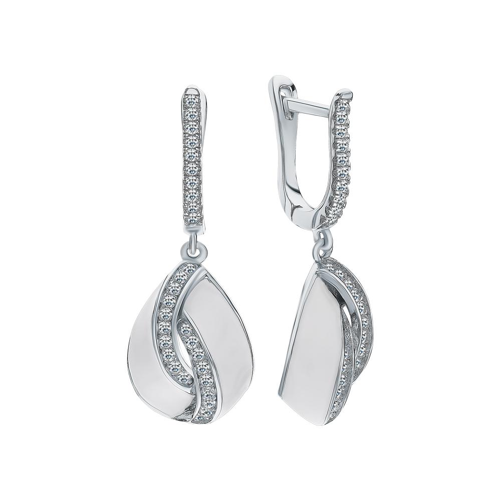Серебряные серьги с фианитами и эмалью в Екатеринбурге