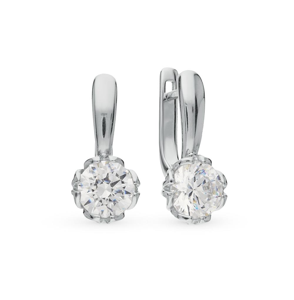 серебряные серьги с кристаллами SOKOLOV 89020027