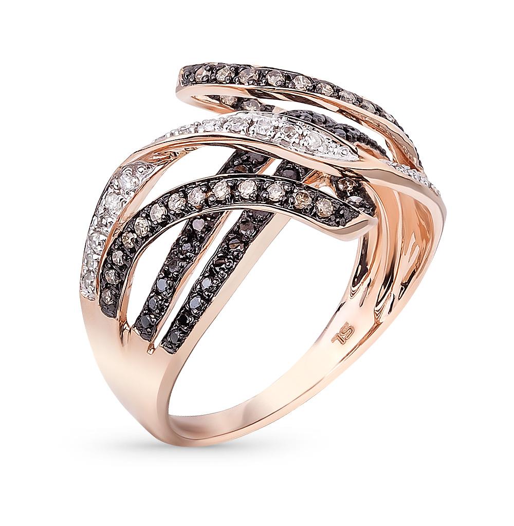 Фото «золото кольцо с чёрными и коньячными бриллиантами, фианитами и бриллиантами»