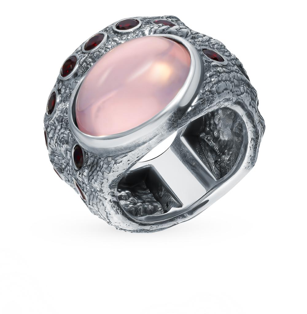 Фото «Серебряное кольцо с кварцем и гранатом»