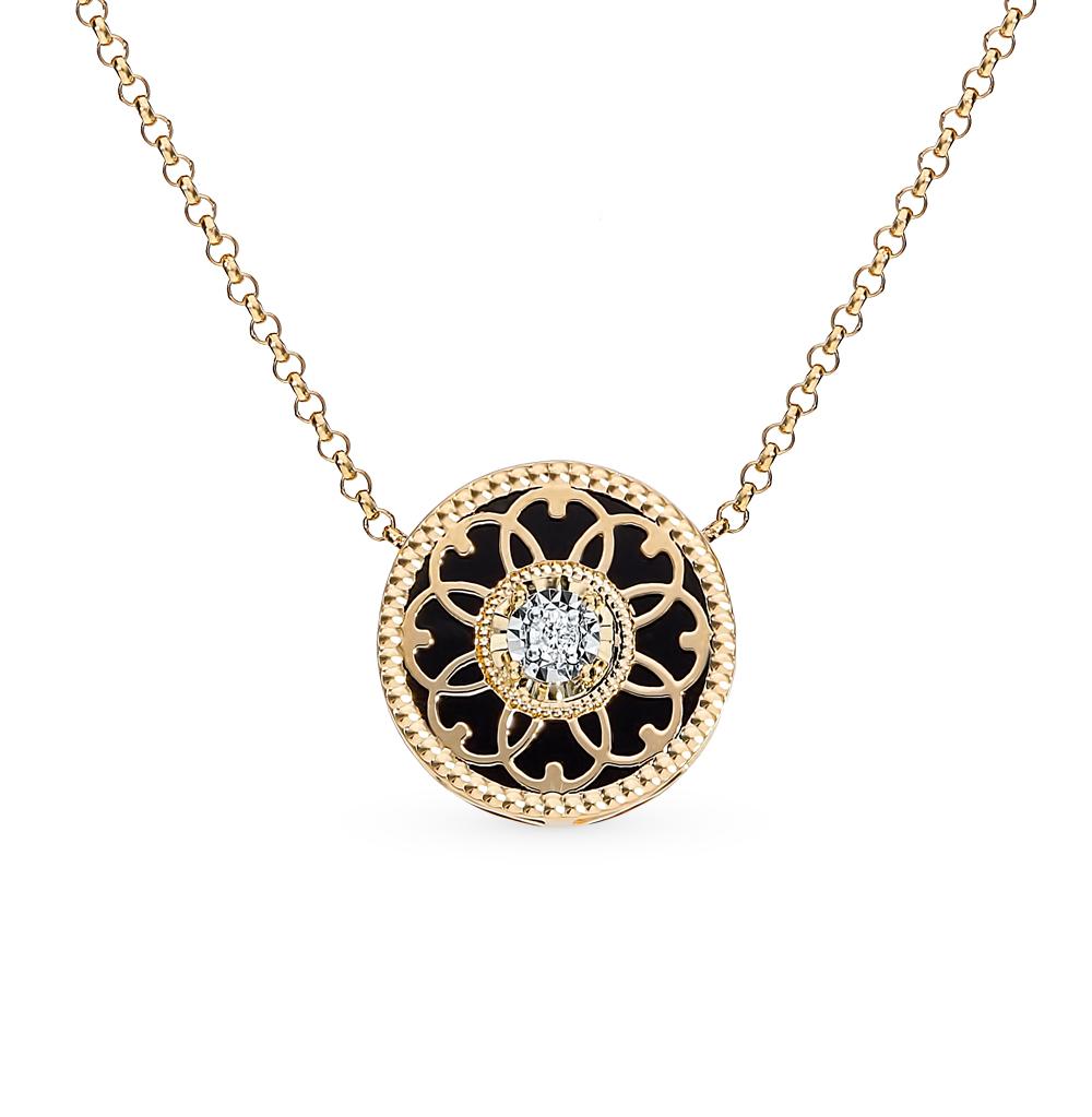 Золотое шейное украшение с агатом и бриллиантами в Санкт-Петербурге