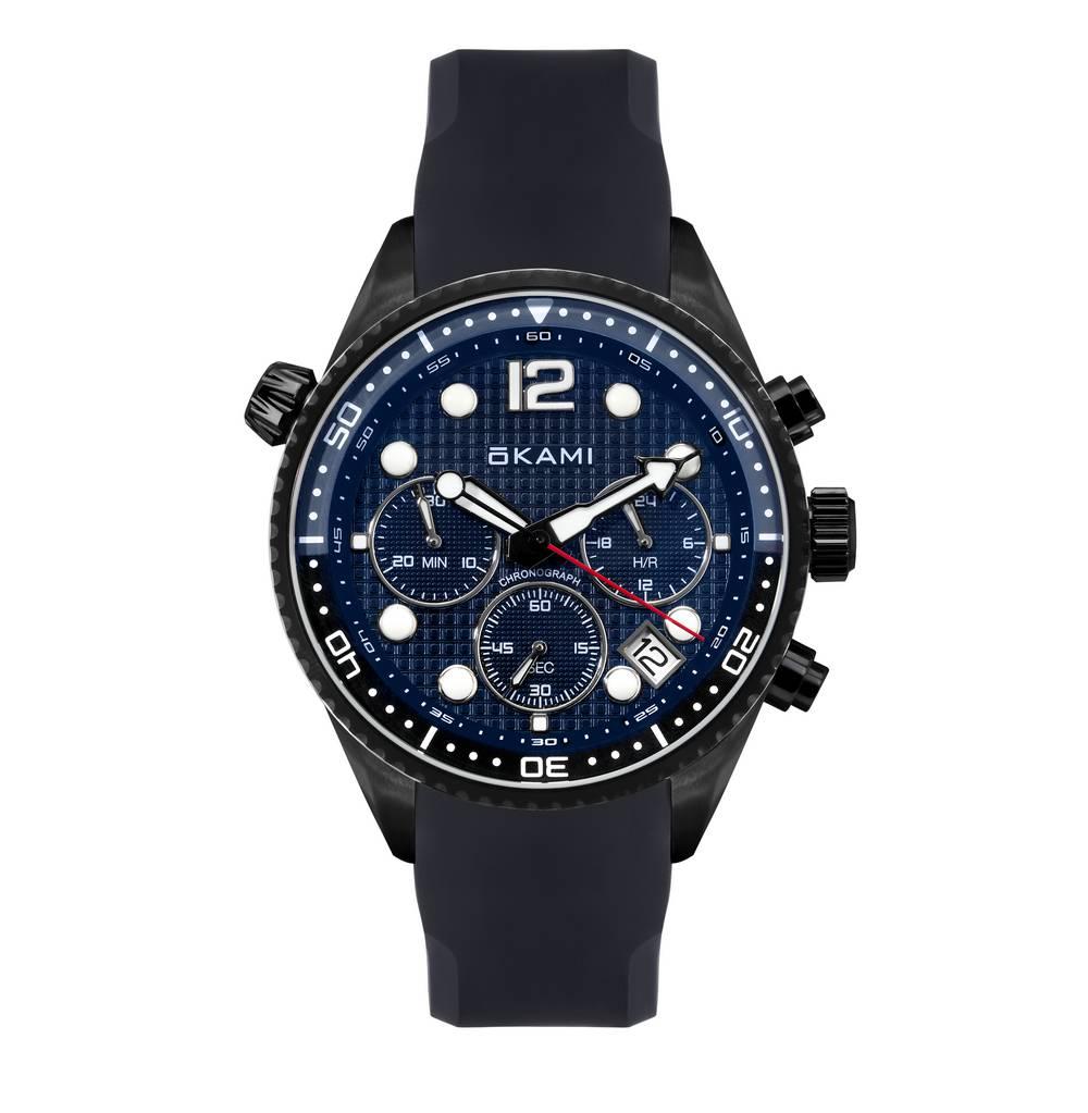 Мужские часы с хронографом на ремне из каучука