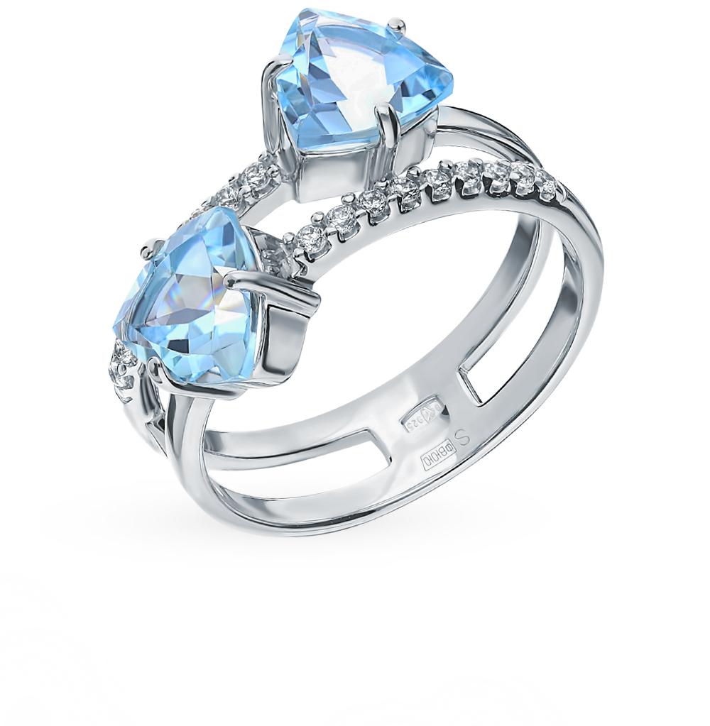 серебряное кольцо с топазами и фианитами SOKOLOV 92011885