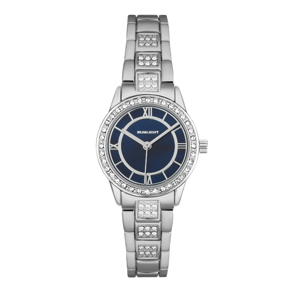 Женские часы с перламутром и кристаллами на металлическом браслете