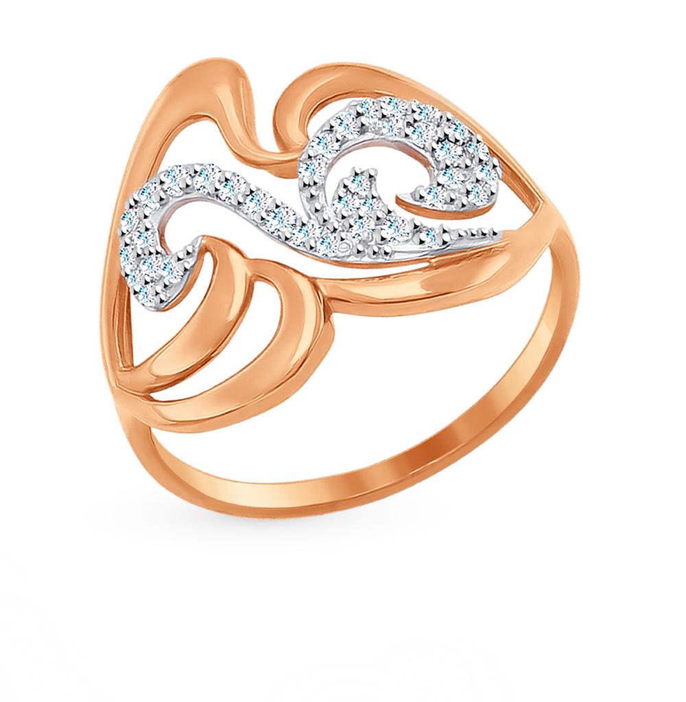 золотое кольцо с фианитами SOKOLOV 017007*