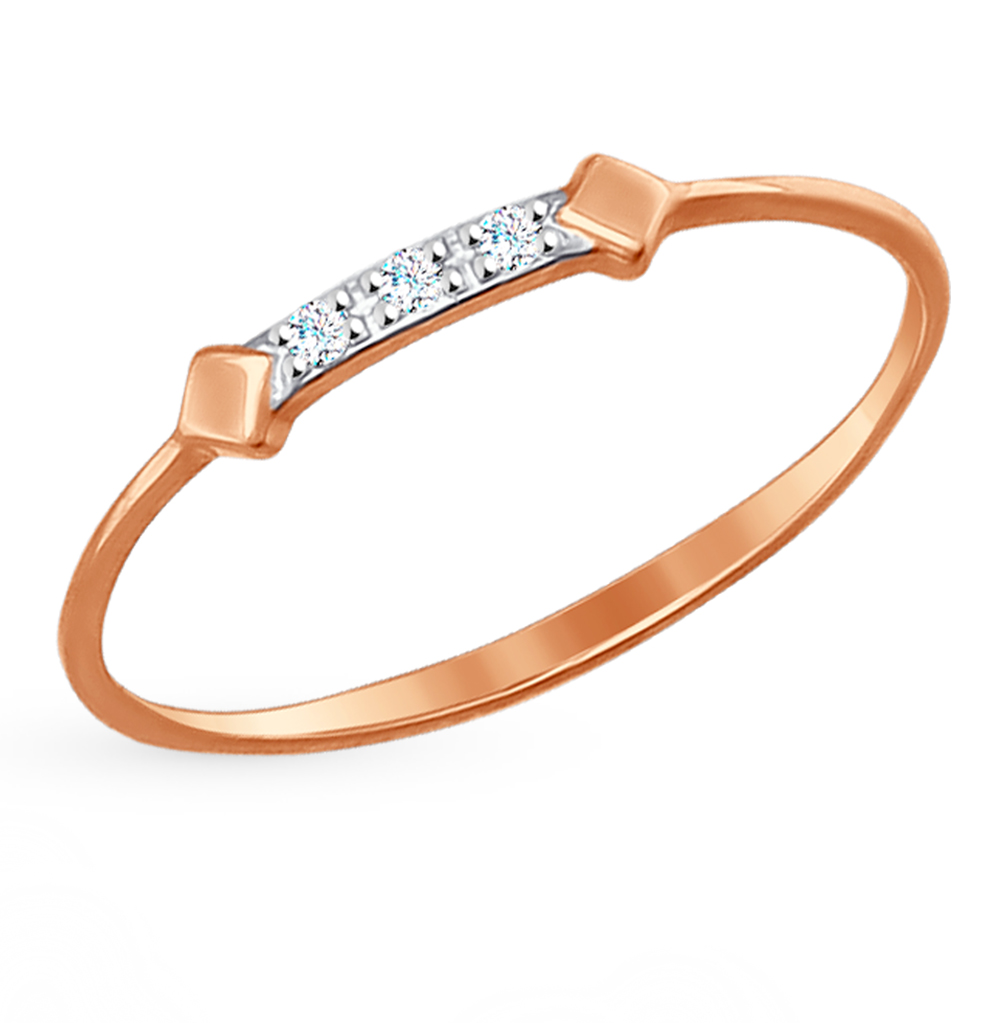 золотое кольцо с фианитами SOKOLOV 017129*