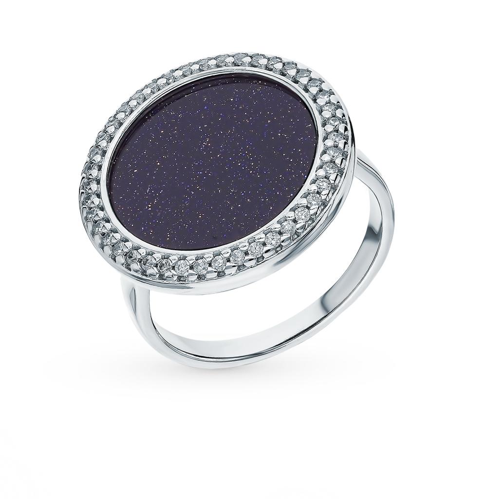 Серебряное кольцо с фианитами и авантюриновыми стёклами SOKOLOV 94013022 в Екатеринбурге