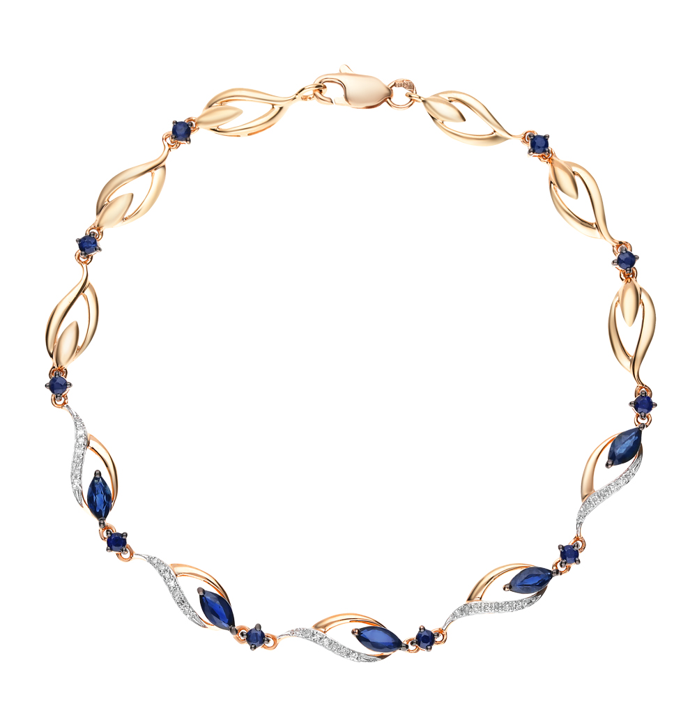 Золотой браслет с сапфирами и бриллиантами в Санкт-Петербурге