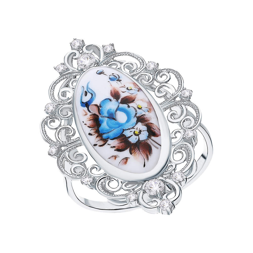 Серебряное кольцо с финифтью и кубическими циркониями в Екатеринбурге