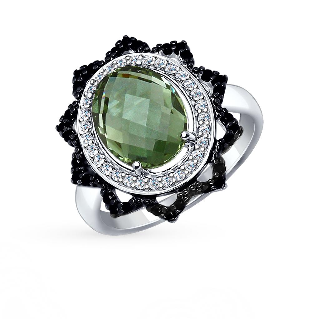 Фото «Серебряное кольцо с кварцем и фианитами SOKOLOV 92011278»