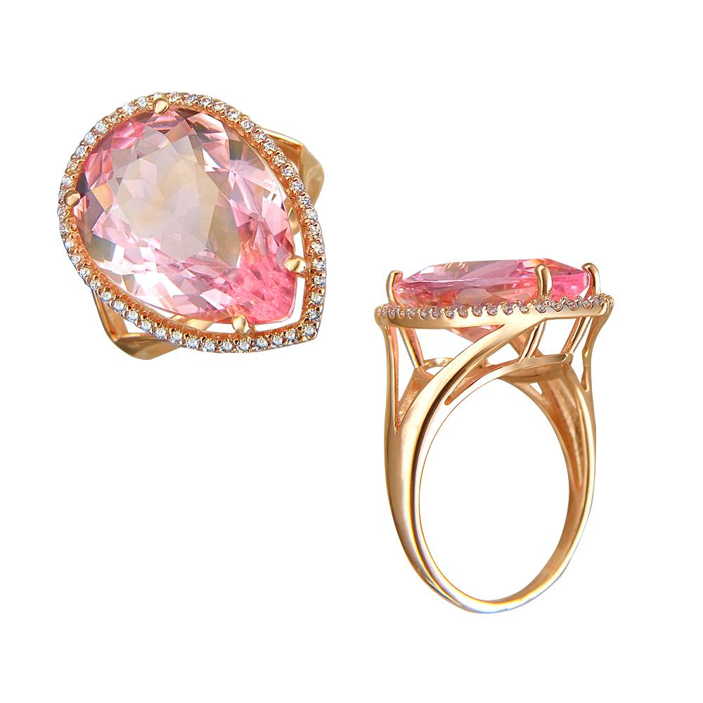 Золотое кольцо с наноситалами и фианитами в Екатеринбурге