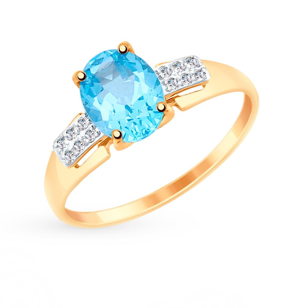 Золотое кольцо с топазами и фианитами SOKOLOV 715060* в Екатеринбурге