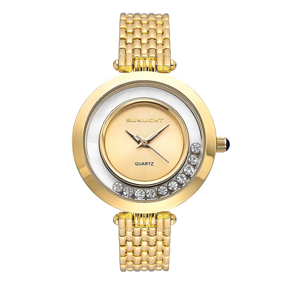 Женские часы с танцующими кристаллами на металлическом браслете