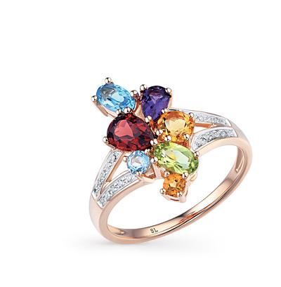 Золотое кольцо с хризолитом, аметистом, топазами, гранатом и бриллиантами в Санкт-Петербурге