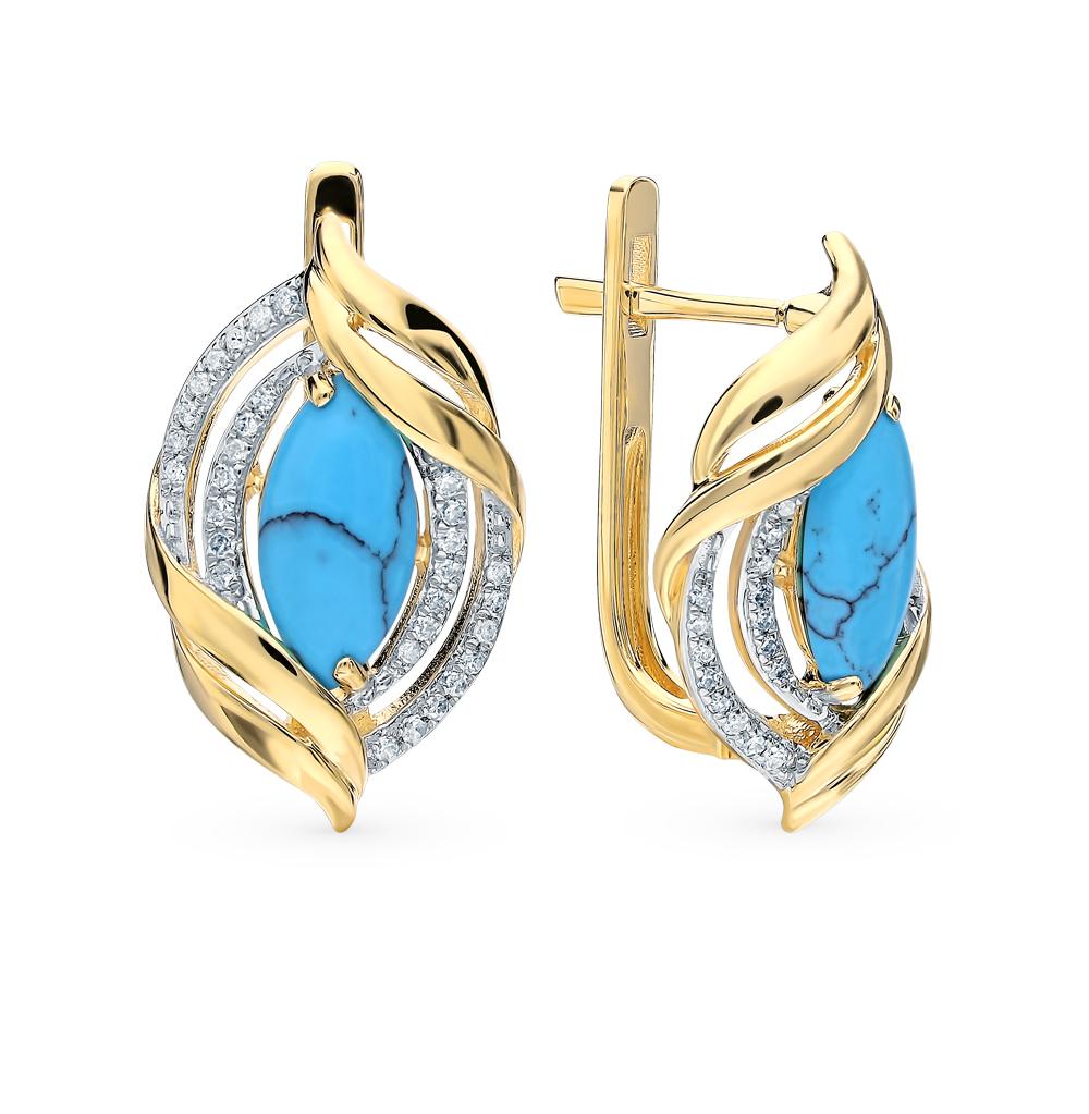 золотые серьги с бирюзой и бриллиантами