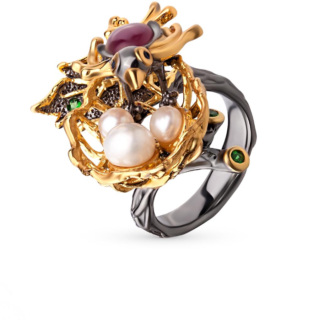 Фото «серебряное кольцо с цаворитами, рубинами и сапфирами»