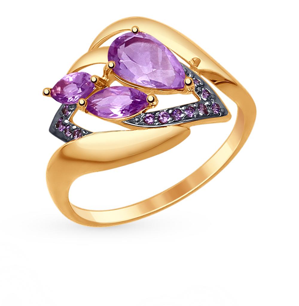 Фото «Золотое кольцо с аметистом и фианитами SOKOLOV 714778*»