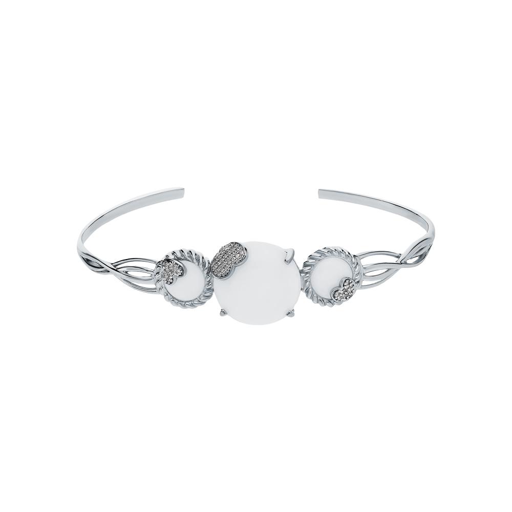 Фото «Серебряный браслет с лунными камнями и кубическими циркониями»