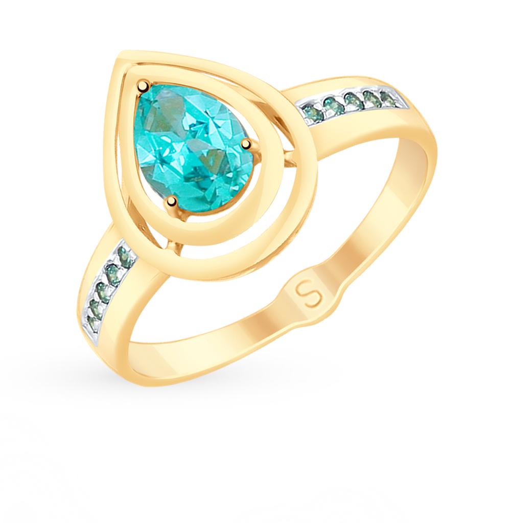 Фото «Золотое кольцо с топазами и фианитами SOKOLOV 715317*»