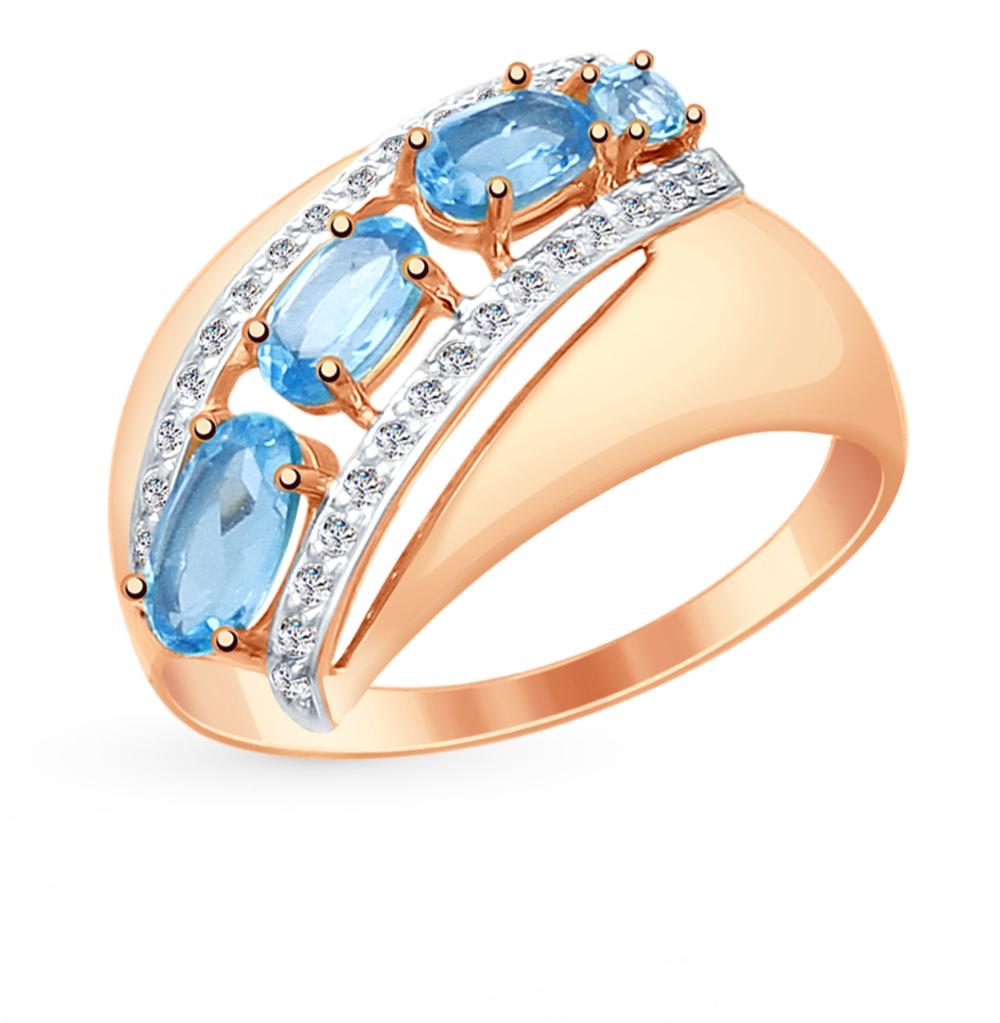 золотое кольцо с топазами и фианитами SOKOLOV 714893*