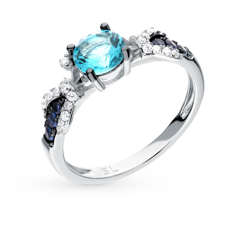 серебряное кольцо с алпанитом, фианитами и кубическими циркониями