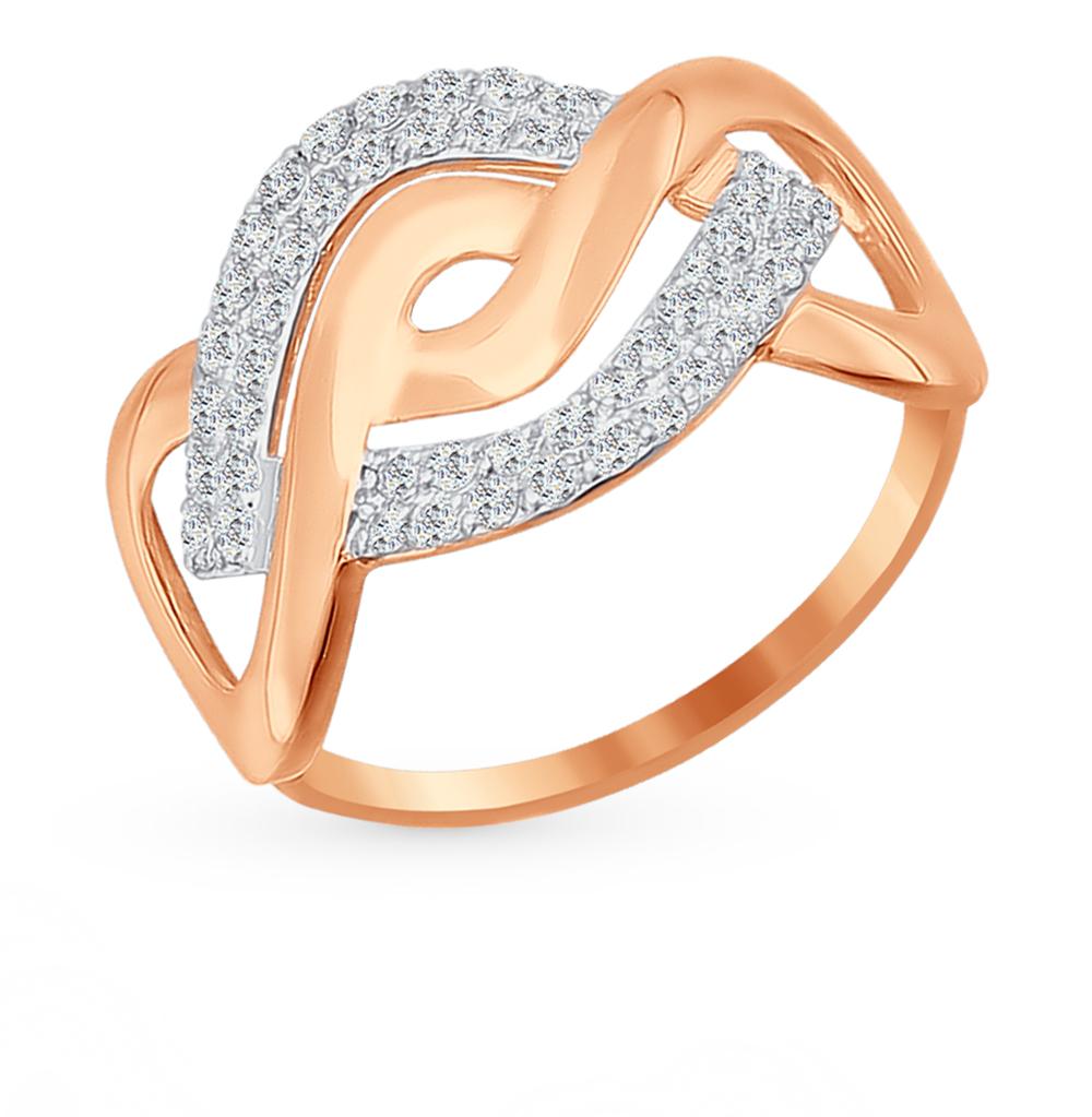 золотое кольцо с фианитами SOKOLOV 016831*