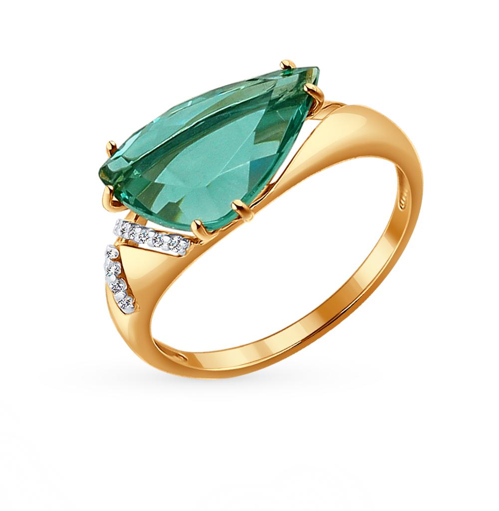 золотое кольцо с кварцем и фианитами SOKOLOV 714117*