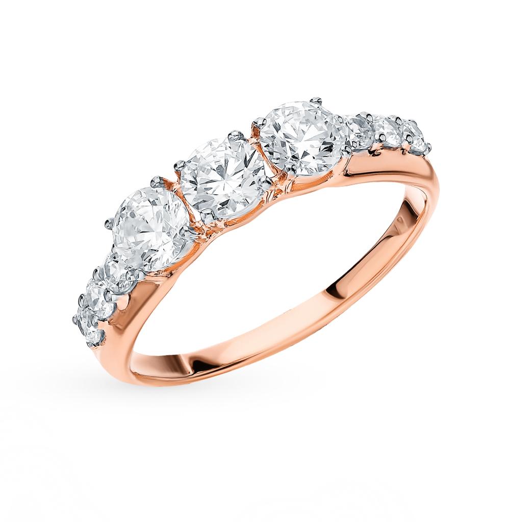 золотое кольцо с фианитами SOKOLOV 81010459*